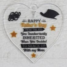 Printed 9.5cm Heart cut from 3mm Acrylic Dad Daddy Fathers Day Gift - Stepdad